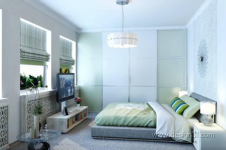 Интерьер спальни с зелеными акцентами: Спальни в . Автор – студия Design3F, Минимализм