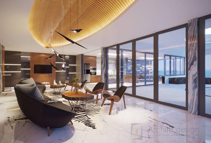 Long Beach center Penthouse - Phu Quoc:  Phòng khách by Archifix Design