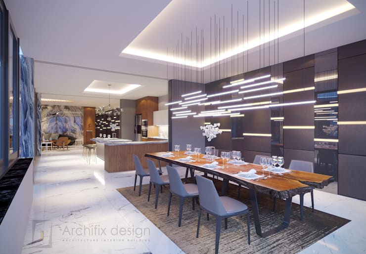 Long Beach center Penthouse – Phu Quoc:  Phòng ăn by Archifix Design
