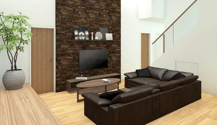 HOUSE UCHIYAMA: Soggiorno in stile in stile Moderno di Studio Maiden
