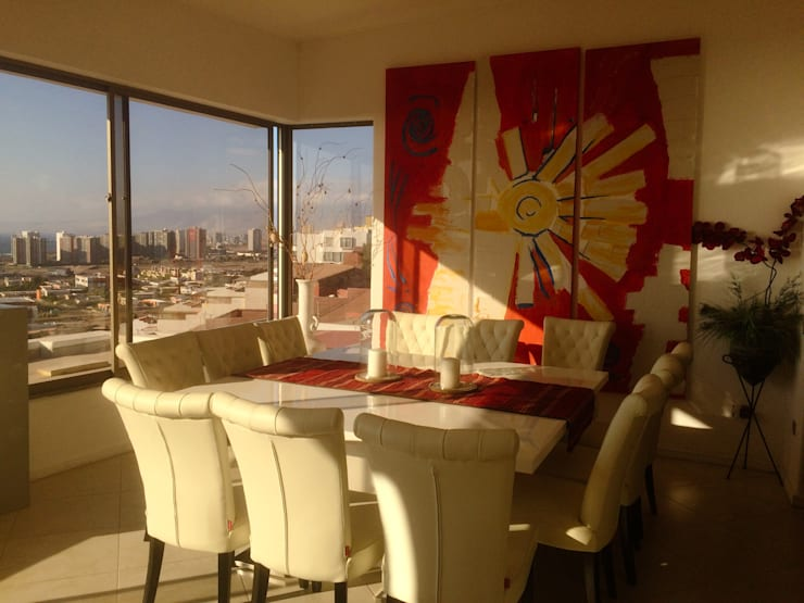 Panoramica y decoracion del comedor:  de estilo  por  Arquitectos Roman&Toledo