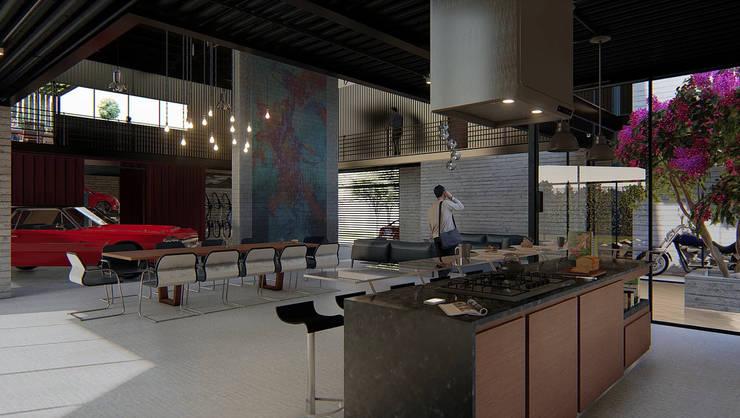 Recepción con vista al taller:  de estilo  por Grupo PAAR Arquitectos