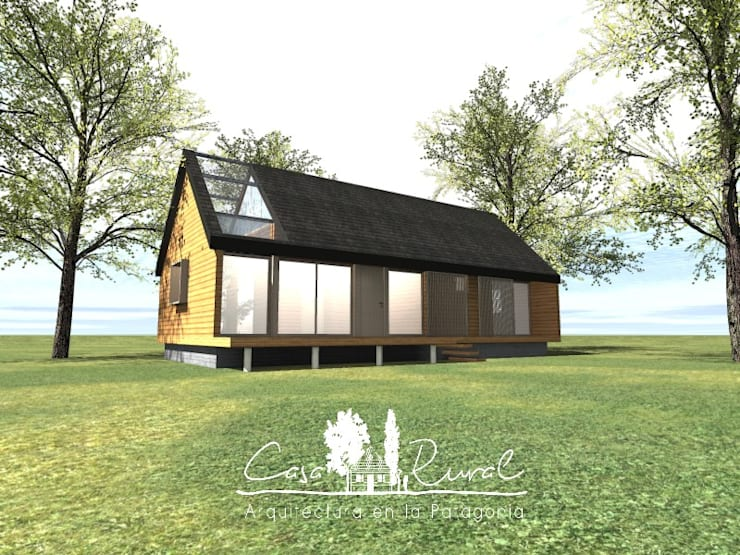 Fachada: Casas de campo de estilo  por casa rural - Arquitectos en Coyhaique
