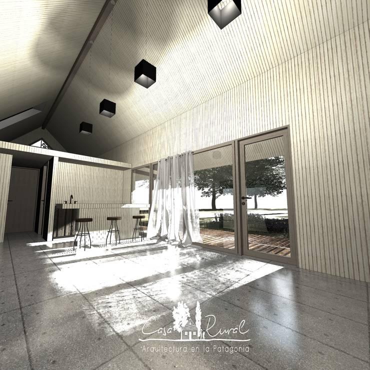 Living: Livings de estilo  por casa rural - Arquitectos en Coyhaique