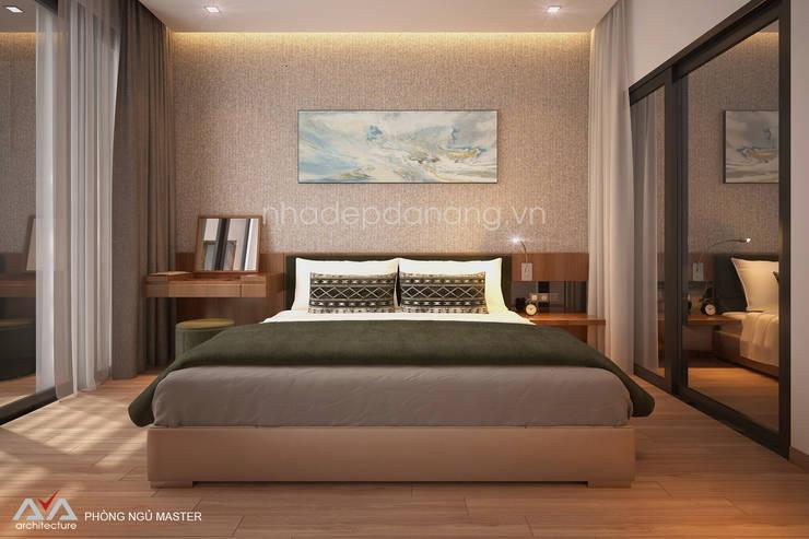 Thiết kế nhà đẹp 3 tầng Khu đô thị sinh thái Hòa Xuân, TP. Đà Nẵng:  Phòng ngủ by AVA Architecture
