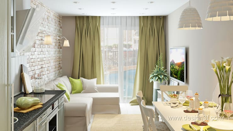 Студия с мебелью Икеа: Гостиная в . Автор – студия Design3F, Скандинавский