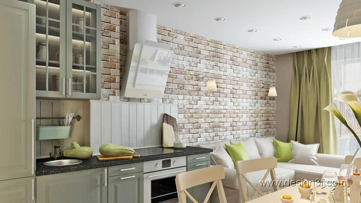 Студия с мебелью Икеа: Кухни в . Автор – студия Design3F, Скандинавский