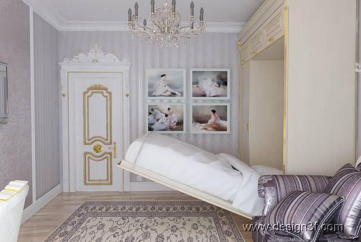 Комната с кроватью в шкафу: Гостиная в . Автор – студия Design3F, Классический