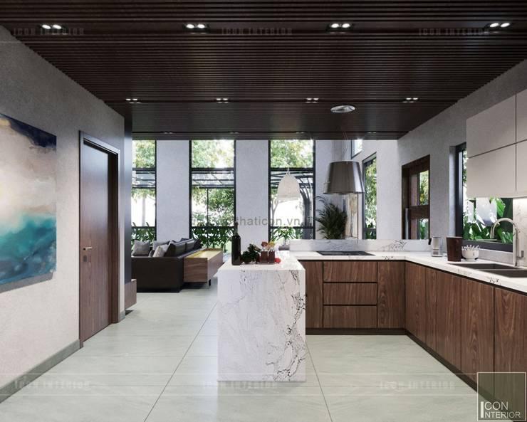 Thiết kế biệt thự hiện đại đẳng cấp với gỗ tự nhiên:  Nhà bếp by ICON INTERIOR