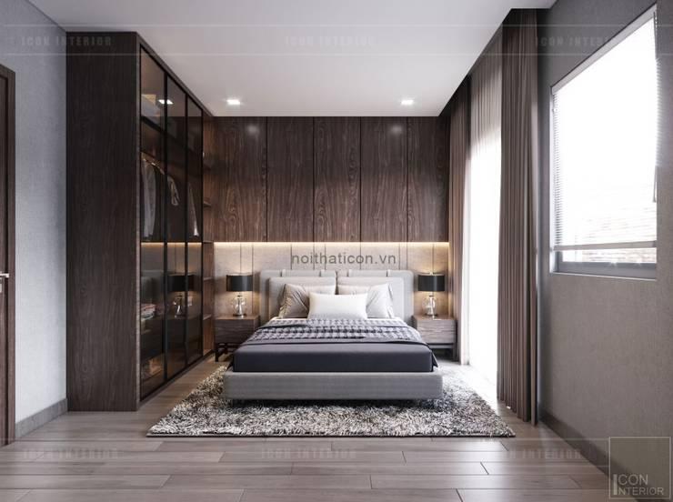 Thiết kế biệt thự hiện đại đẳng cấp với gỗ tự nhiên:  Phòng ngủ by ICON INTERIOR