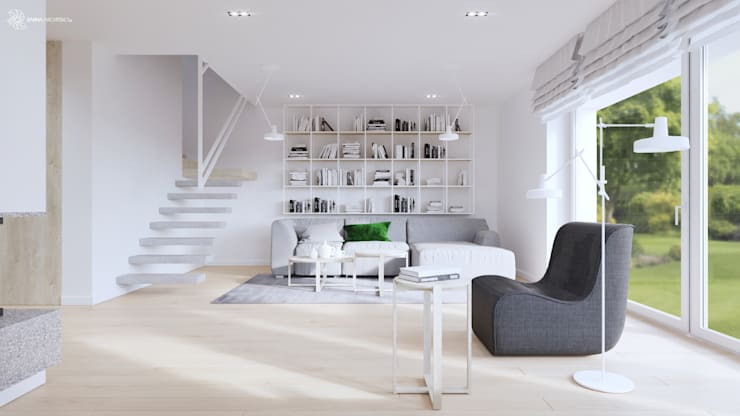 White and bright house interior. : styl , w kategorii Salon zaprojektowany przez SARNA ARCHITECTS   Interior Design Studio