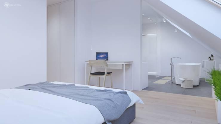 White and bright house interior. : styl , w kategorii Sypialnia zaprojektowany przez SARNA ARCHITECTS   Interior Design Studio