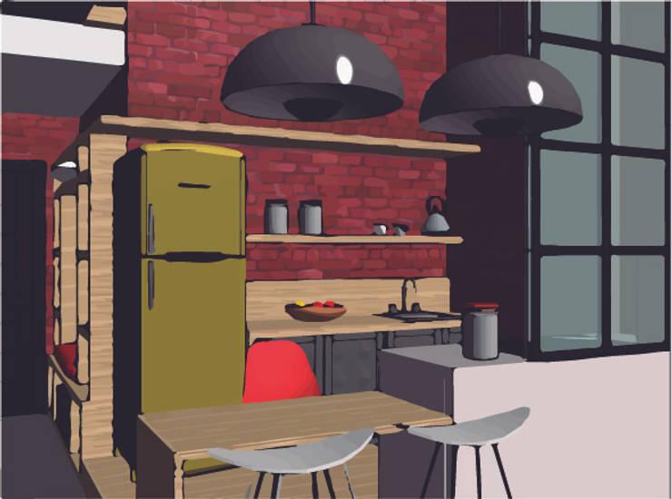 LOFT INDUSTRIAL: Cocinas de estilo  por Granada Design,