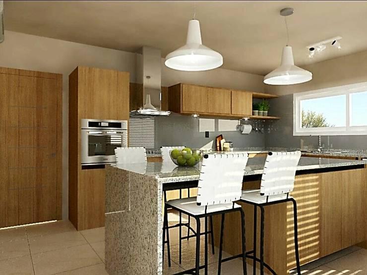 Cocina con Isla: Cocinas de estilo moderno por VI Arquitectura & Dis. Interior
