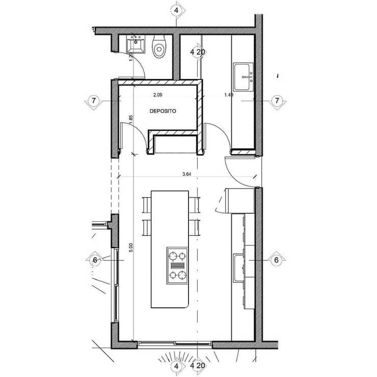 Cocina con Isla:  de estilo  por VI Arquitectura & Dis. Interior