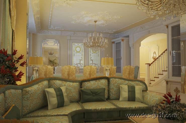 Интерьер роскошной гостиной в классическом стиле: Гостиная в . Автор – студия Design3F, Классический