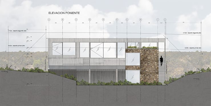 Elevación Poniente:  de estilo  por LEON CAMPINO ARQUITECTURA SPA