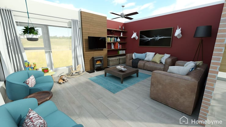 Realistic 3D Design of Living Room :  Living room by Room 2 Room Design