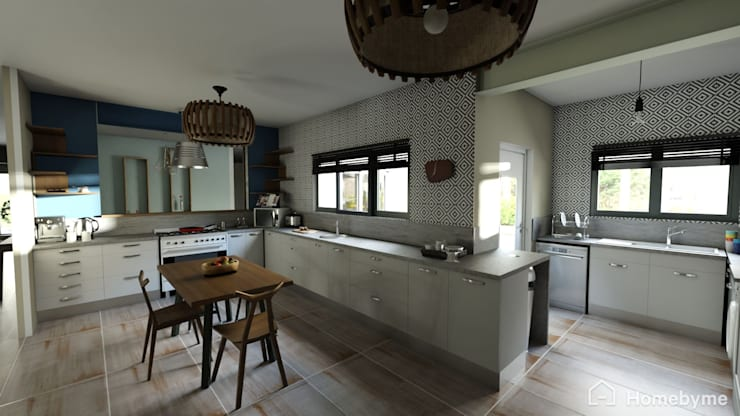 Realistic 3D Design of Kitchen:  Kitchen by Room 2 Room Design