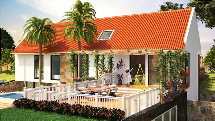 Terraza : Casas campestres de estilo  por A.BORNACELLI