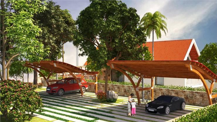 Parqueadero: Casas campestres de estilo  por A.BORNACELLI, Tropical