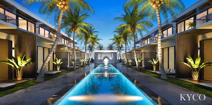 公共泳池:  庭院泳池 by 芮晟設計事務所