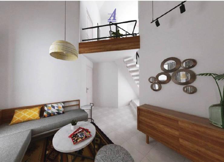 The Kinder House - Pejaten, Jakarta Selatan (Guest Area):  Ruang Keluarga by Asta Karya Studio