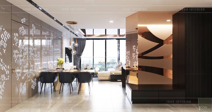 THIẾT KẾ NỘI THẤT CĂN HỘ VINHOMES GOLDEN RIVER – Cảm hứng <q>Dòng sông vàng</q>:  Phòng ăn by ICON INTERIOR