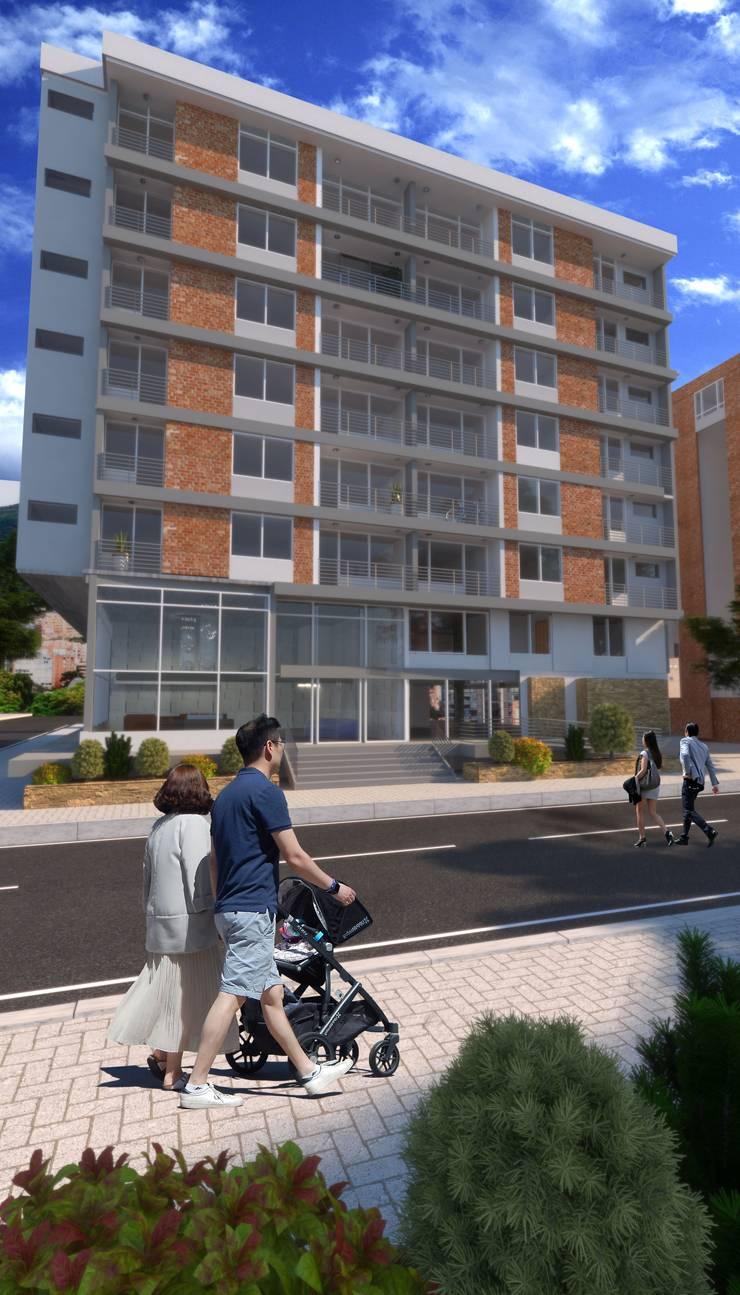 EXTERIOR EDIFICIO : Conjunto residencial de estilo  por jaguarq3destudio