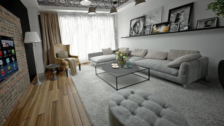 50GR Mimarlık – 5.Levent de 1+1 daire: modern tarz Oturma Odası