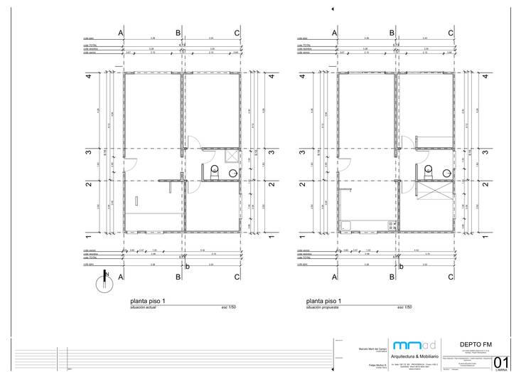 situación actual - propuesta:  de estilo  por MMAD studio - arquitectura & mobiliario -