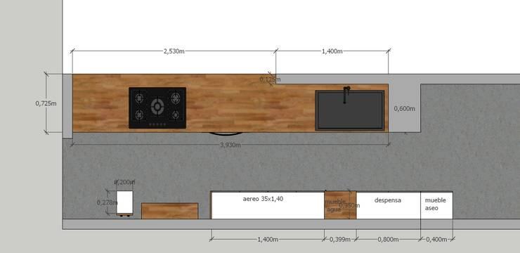 Cocina RD: Cocinas de estilo  por MMAD studio - arquitectura & mobiliario -