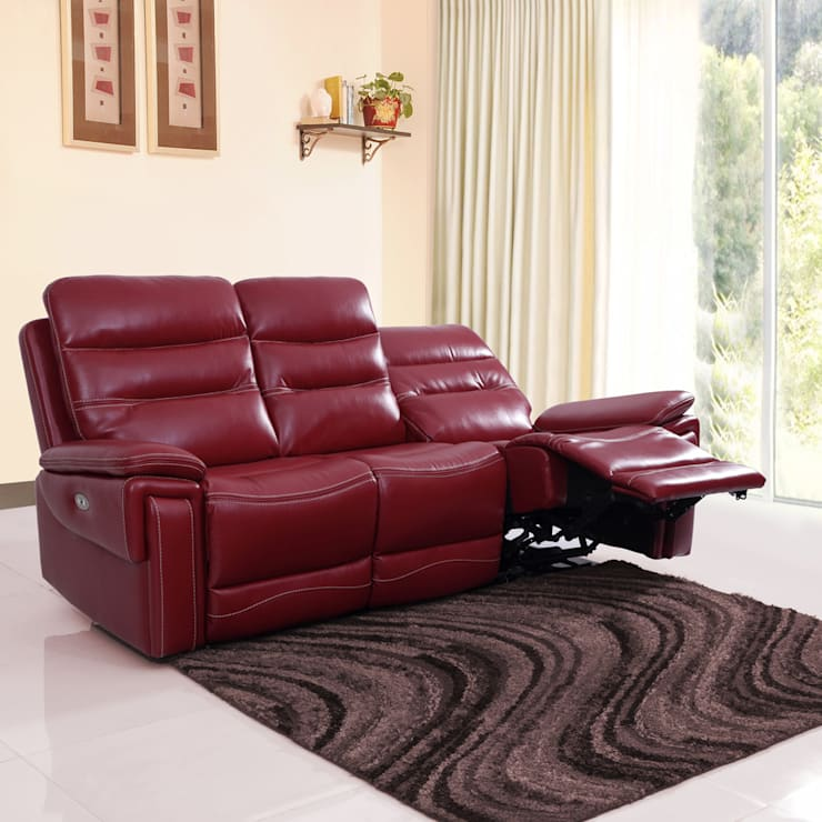Adolf Leatherette Power Recliner Sofa 3 Seater-Red:  Living room by Evok By Hindware