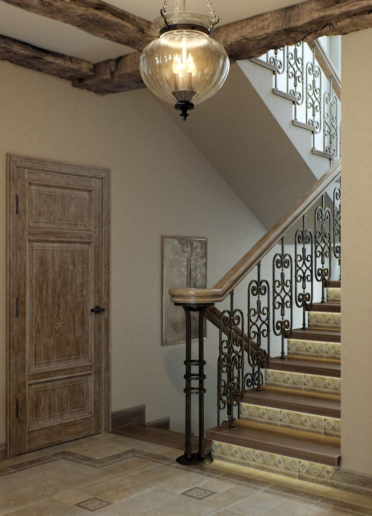 Pasillos, vestíbulos y escaleras de estilo mediterráneo de EJ Studio Mediterráneo