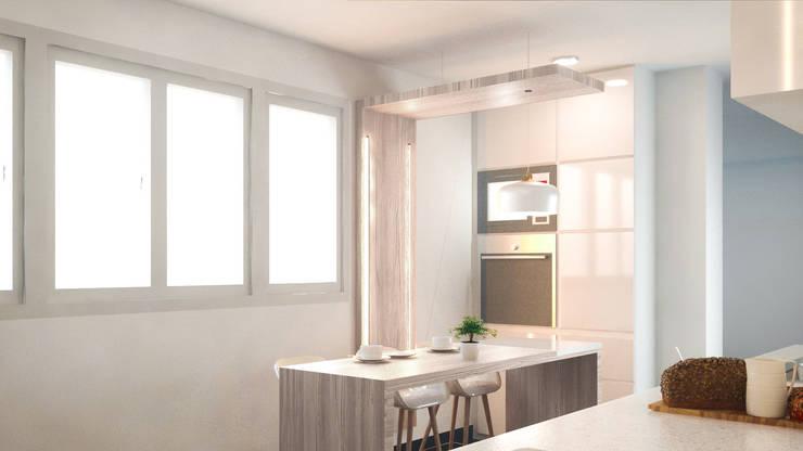 Remodelación Cocina en colores claros:  de estilo  por Mauriola Arquitectos,