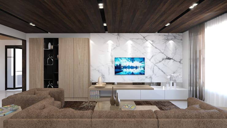 Tv unit in satvario marble back panel in the living room:   by Rhythm  And Emphasis Design Studio