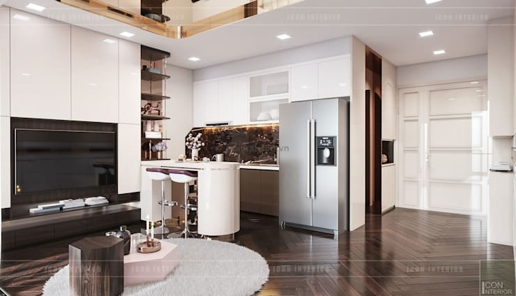 """THIẾT KẾ NỘI THẤT MONOCHROME CĂN HỘ LANDMARK 81 - Tiêu chí """"Less is more"""" trong thiết kế nội thất:  Nhà bếp by ICON INTERIOR"""