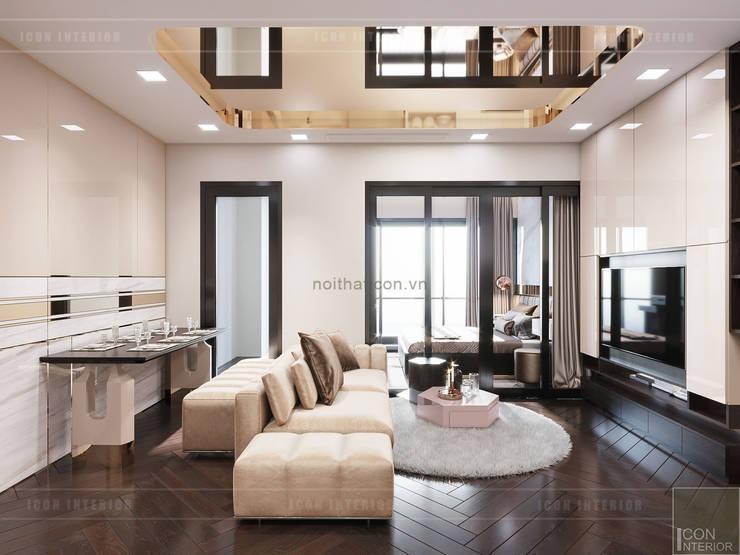 THIẾT KẾ NỘI THẤT MONOCHROME CĂN HỘ LANDMARK 81 – Tiêu chí <q>Less is more</q> trong thiết kế nội thất:  Phòng khách by ICON INTERIOR