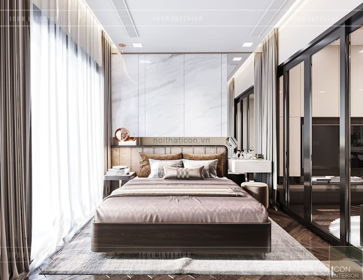 THIẾT KẾ NỘI THẤT MONOCHROME CĂN HỘ LANDMARK 81 – Tiêu chí <q>Less is more</q> trong thiết kế nội thất:  Phòng ngủ by ICON INTERIOR