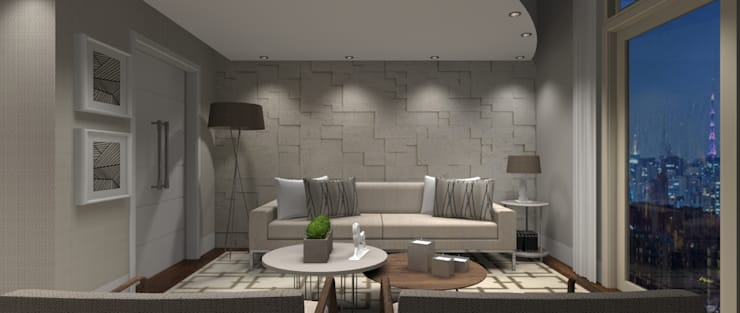 Sala Luxo 4: Salas de estar  por Designer Paula Daiane dos Santhos
