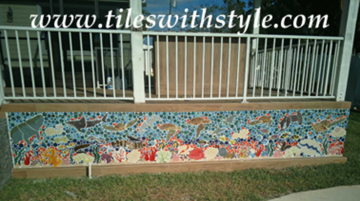 Great Barrier Reef patio wall mosaic ceramic tiles:  Patios & Decks by Tiles with Style