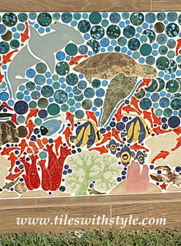 Close up of the Great Barrier Reef mosaic tile wall:  Patios & Decks by Tiles with Style