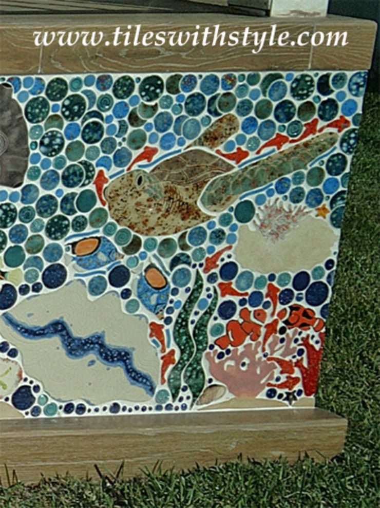 Closeup of Great Barrier Reef mosaic ceramic tiles:  Patios & Decks by Tiles with Style