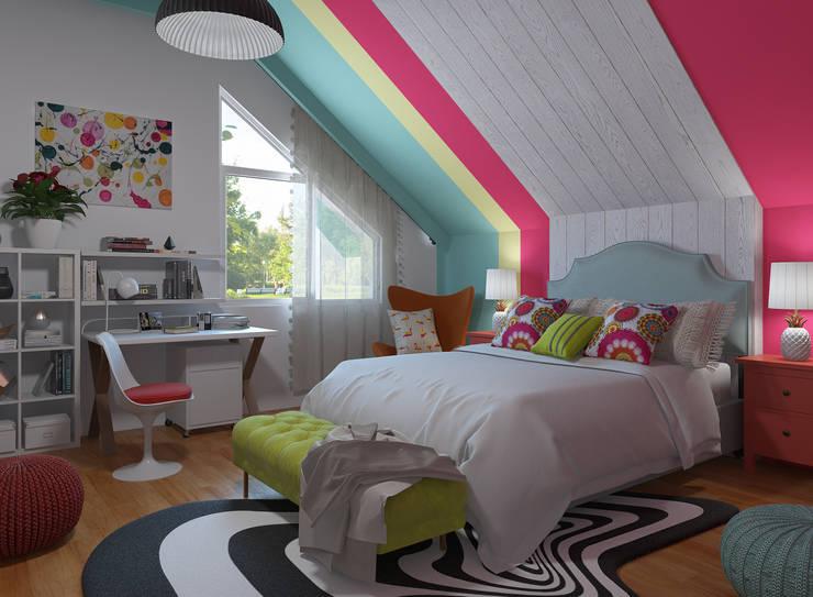 Dormitorio Pop Art - ecléctico: Dormitorios de estilo  de Glancing Eye - Diseños 3D