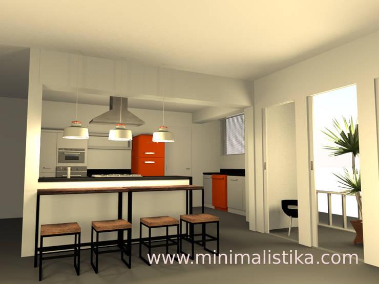 Vista desde la sala hacia la isla de cocina: Cocinas de estilo  por Minimalistika.com