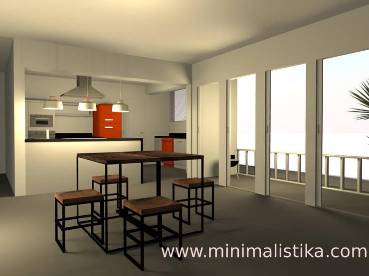 Vista con la barra convertida en mesa de comedor: Comedores de estilo  por Minimalistika.com