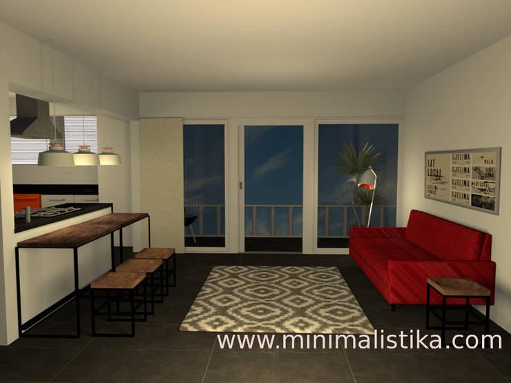 Sala integrada: Salas / recibidores de estilo  por Minimalistika.com