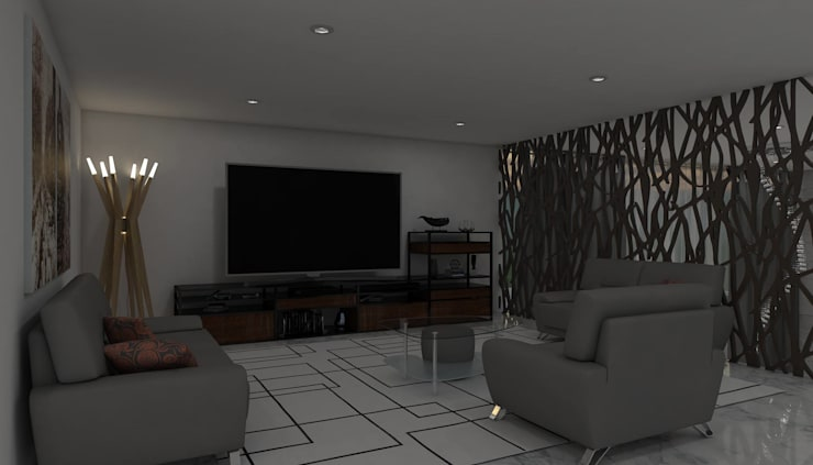 Salas de entretenimiento de estilo  por HC Arquitecto