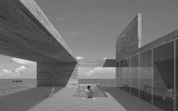 Terraza con piscina: Terrazas  de estilo  por mutarestudio Arquitectura