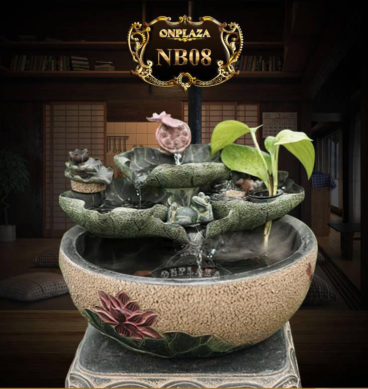 Tiểu cảnh chậu đá suối hoa sen có hồ cá mini trang trí:  Phòng khách by Công Ty Thi Công Và Thiết Kế Tiểu Cảnh Non Bộ